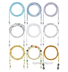 9 Pieces Beaded Eyeglass Chains Metal Sunglasses Strap Eyeglass Strap Holder Around Neck Eyeglass Chains Cords Necklace Strap Eyewear Retainer Strap Face Covering Clip Holder Chains for Women
