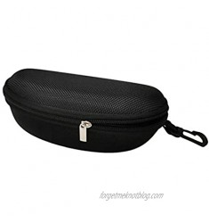 BodyTel Hard Sunglasses Case Portable Glasses Case with Plastic Carabiner Hook and Cleaning Cloth Use for Women Men Kids Black