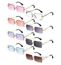 8 Pairs Vintage Rimless Rectangle Sunglasses Tinted Lens Gold Metal Frameless Eyewear Sunglasses for Women Men