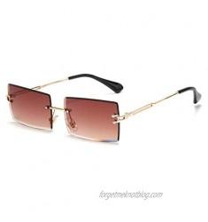 Rectangle Sunglasses For Women Men Rimless UV Protection Fashion Square Sunglasses Tinted Lens Vintage Sun Glasses