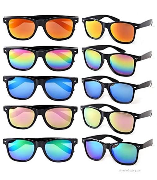 Sunglasses Reflective Mirror Lens Square Sunglasses Party Favors Non Polarized UV Protection 10 Pack