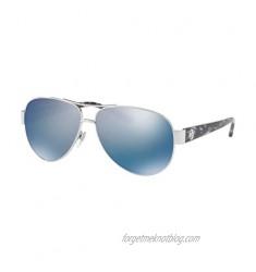 Tory Burch 0TY6057 Silver/Blue Flash Polarized Mirror One Size