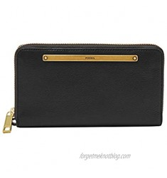 Fossil Women's Liza Leather Zip Around Clutch Wallet With Retractable Wristlet Strap