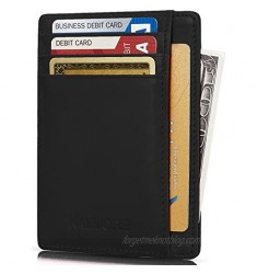 KALMORE Genuine Leather Front Pocket Slim Wallet Credit Card Holder with ID Window