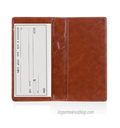 Leather Checkbook Cover Holder with Free Divider Right Handed with Middle Pen Design Checkbook Cover Case for Women/Men