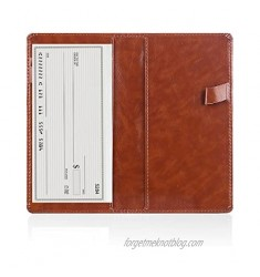 Leather Checkbook Cover Holder with Free Divider Right Handed with Side Pen Design Checkbook Cover Case for Women/Men