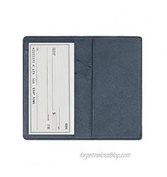 Leather Checkbook Cover with Pen Holder and Built-in Divider Basic Checkbook Holder Case for Men&Women (Cross Dark Blue)