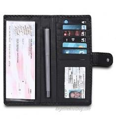 LEVOGUE-Premium Quality Leather RFID Unisex Checkbook cover-Duplicate Checks RFID Card Standard Register with pen inserts