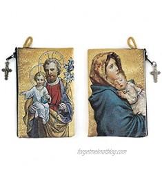"Catholic Rosary Pouch  Saint Joseph and Baby Jesus & Madonna and Child  4"" x 6"" Jewelry & Coin Purse with Cross  Small Woven Tapestry Icon Bag  Bolsa de Rosario Católico para Joyería"