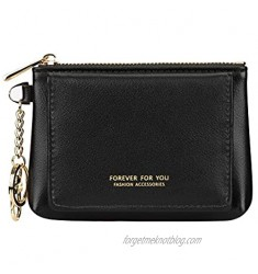 Women's Leather Zipper Coin Purse Small Pouch Change Wallet with Keychain