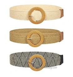 3 Pieces Straw Woven Belt Elastic Stretch Waist Belt Braided Skinny Dress Waist Belt Wood Color Buckle for Women