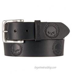 Harley-Davidson Men's Embossed Willie's World Leather Belt  Black HDMBT11332-BLK