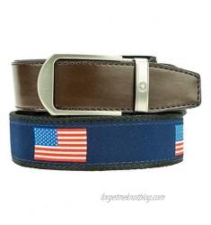 Nexbelt Hampton USA Blue Ribbon with Brown Leather Ratchet Golf Belt