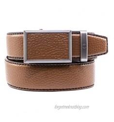 Nexbelt Men's Golf - V.3 Cognac Pebble Grain Brown Leather Adjustable Comfort Fit Ratchet Belt for Unisex with Hidden Ball Marker (Cognac)