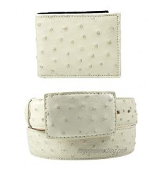 Package Exotic Genuine Ostrich Leather Belt and Wallet Color Bone