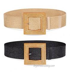 2 Pack Woven Waist Belts for Women  Fashion Wide Elastic Braided Womens Belts for Skinny Dress