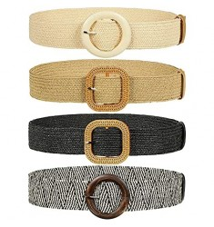 4 Pieces Woven Elastic Waist Belt for Women Straw Woven Style Skinny Dress Belt Waist Band with Vintage Buckle for Women Ladies Dresses Pants  4 Styles