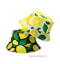 Bennim 2 Pieces Unisex Lemon Pattern Bucket Hats Reversible Fisherman Cap for Casual Travel Beach