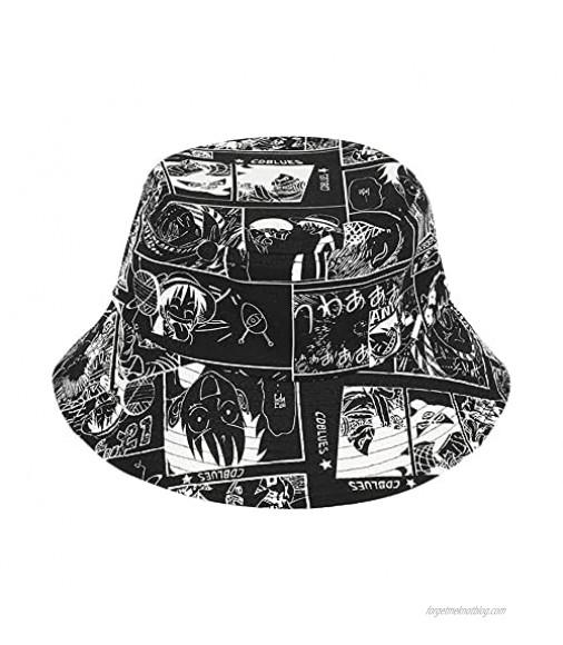 Bucket Hat Anime One Piece Summer Travel Bucket Beach Sun Hat Embroidery Outdoor Cap for Men Women Teens 22—22.8 Inch