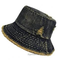 Distressed Denim Bucket Hat Ripped Frayed Edge Sun Hat for Women Men