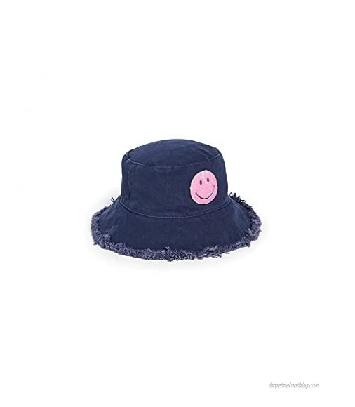 Jocelyn Women's Cotton Canvas Bucket Hat with Frayed Edges & Patch