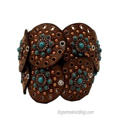 """M&F Western Nocona Wide Concho Disk Belt Brown/Turquoise MD (34"""" Waist)"""