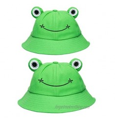 PANTIDE 2 Packs Cute Frog Bucket Hats Parent-Child Hats  Green Wide Brim Fisherman Hats  Polyester Bucket Summer Sun Protection Anti UV Hats  Packable Unique Family Matching Hats for Parent and Kid