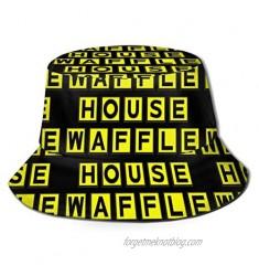 Waffle House Bucket Hat Novelty Bucket Hat for Men Unisex Graffiti Fishmen Cap Boonie Black Cap