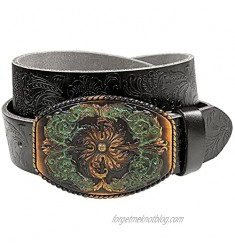 """Western Fashion Style Floral Engraved Buckle Full Grain Genuine Leather Belt 1-1/2"""" (38mm) Wide - Assembled in the U.S"""