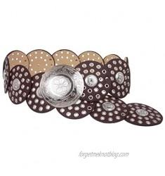 Women's 3 1/2 (90 mm) Wide Boho Disc Concho Leather Link Belt