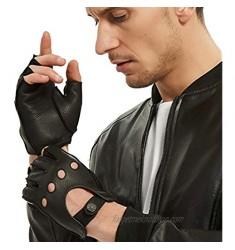 Fingerless Leather Gloves Men - NOVBJECT Driving Gloves Deerskin Unlined Half Finger Motorcycle Outdoor