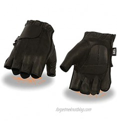 Milwaukee Leather SH442 Men's Black Leather Full Panel Fingerless Gloves with Gel Palm - X-Large