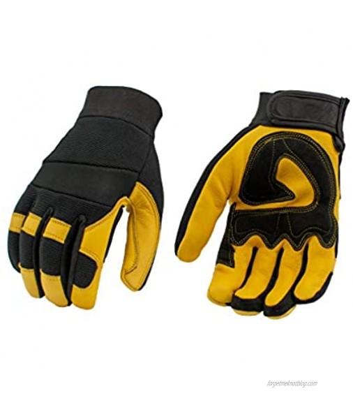 Xelement XG37548 Men's Yellow and Black Full Grain Deerskin Gloves - X-Small