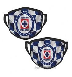 Cruz Azul Fútbol Club Adult Reusable Bandana Face Mask Black Border Mouth Mask for Outdoor Sports (2 Packs)