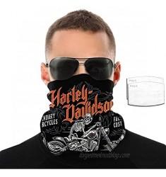 Harley Davidson Motorcycle Mask for Men Women Neck Gaiter Face Mask Bandana Balaclava Scarf with 2 Filter