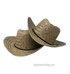 CHAPEAU TRIBE Low Crown Westen Cowboy Straw Hat (2 Pack)