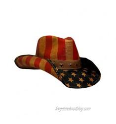 Peter Grimm Vintage Drifter Cowboy Hat - USA American Flag Patriotic America