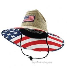 JFH Men's Flag Prints Pierside Straw Sun Hats