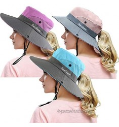 Peicees 3PCS Women's Outdoor UV Protection Foldable Mesh Wide Brim Beach Fishing Hat