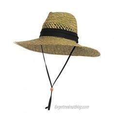 Vented Straw Lifeguard Sun Hat w/ 4.5-inch-Wide Brim & Chin Strap – One Size