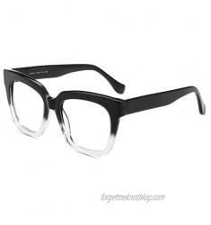 Firmoo Blue Light Blocking Glasses Oversize Square Computer Eyewear Anti Eyestrain Anti Glare Eyewear for Women Men