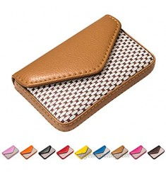 Padike Leather Business Name Card Holder Case Wallet Credit Card Book with Magnetic Shut Black (Apricot)