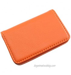 RuiLing 1-Pack Orange Leather Wallet Flip Type Purse with Magnetic Closure Holder 25 Cards Case 4X 2.8(LxW) Business Name Card Case
