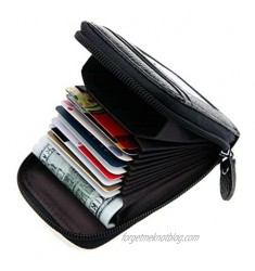 Compact Leather Mens Womens Zipper Leather Coin Change Credit Card Pouch Purse Holder Wallet with ID Window