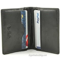 Tony Perotti Mens Italian Bull Leather Thin Bifold Credit Card Holder Wallet in Black