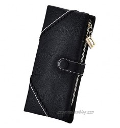 Women Vegan Leather Wallet Bifold Clutch Large Capacity Card Organizer Buckle Long Purse for Girls Candy Color