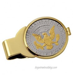Coin Money Clip - Presidential Seal JFK Half Dollar Selectively Layered in Pure 24k Gold | Brass Moneyclip Layered in Pure 24k Gold | Holds Currency Credit Cards Cash | Genuine U.S. Coin