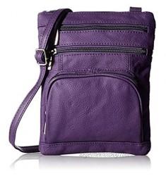 AFONiE Fashion Geneva Genuine Leather Crossbody Handbag Purple