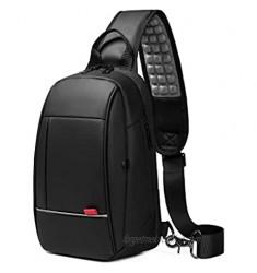 Mens Messenger Bag Small Waterproof Sling Shoulder Bags with USB Port Black Crossbody Chest Bag Hiking Biking Daypacks
