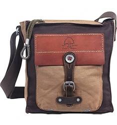 TSD Brand Hidden Woods Canvas Crossbody Bag Brown